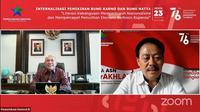 Menteri Koperasi dan UKM Teten Masduki dalam webinar Internalisasi Pemikiran Bung Karno dan Bung Hatta, Senin (23/8/2021).