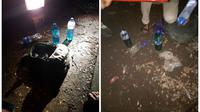 Bom molotov yang dilempar ke Mapolsek Bontoala, Makassar. (Liputan6.com/Eka Hakim)