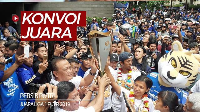 Berita video momen tim Persib Putri melakukan konvoi juara Liga 1 Putri 2019 bersama ribuan Bobotoh di Kota Bandung, Minggu (29/12/2019).