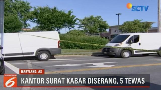 Seorang pria melakukan serangan bersenjata ke kantor surat kabar di Annapolis, Maryland, Amerika Serikat.