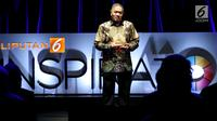 President Director JNE, M. Feriadi saat menjadi pembicara dalam acara Inspirato di SCTV Tower, Jakarta, Selasa (15/5). (Liputan6.com/JohanTallo)