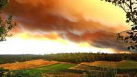 Kebakaran lahan menyebabkan langit di Perth, Australia, berubah menguning bak kulit jeruk. (Departemen Kebakaran dan Pelayanan Darurat Western Australia/BBC)