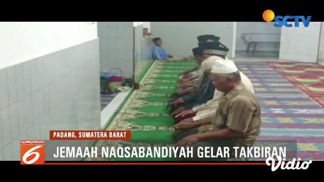 Jemaah Naqsabandiyah Padang rayakan Idul Fitri 1440 H pada 3 Juni 2019.