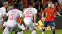 Timnas Spanyol ditahan 1-1 Swiss pada laga persahabatan di Estadio de la Ceramica, Villarreal, Minggu (3/6/2018) waktu setempat.