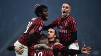 Zlatan Ibrahimovic sumbang gol untuk AC Milan (MARCO BERTORELLO / AFP)