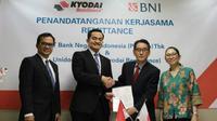 PT Bank Negara Indonesia Tbk (BNI) gandeng perusahaan remitansi Global Unidos Co. Ltd  atau Kyodai Remittance untuk tingkatkan volume remitansi (Foto: Dok BNI)