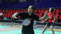 Tunggal putri Indonesia Gregoria Mariska Tunjung berlatih jelang Kejuaraan Bulu Tangkis Beregu Asia 2020. (PBSI)