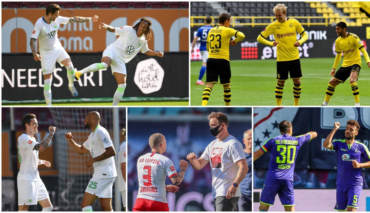 Berikut ini ragam selebrasi jaga jarak yang diterapkan pemain-pemain Bundesliga.