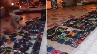 Misterius, Siapa yang Selalu Menata Ratusan Sandal di Masjid Ini?