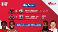 Live streaming big game NBA di Vidio, Raptors vs Celtics dan Rockets kontra Mavericks, Selasa (5/1/2021) dapat disaksikan melalui platform Vidio. (Sumber: Dok. Vidio)