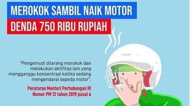 Merokok Sambil Naik Motor, Siap-siap Didenda Rp750 Ribu