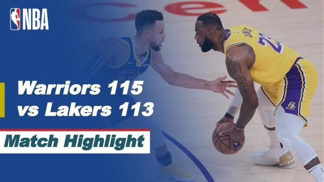 Berita video highlights pertandingan seru NBA 2020/2021 hari ini yaitu saat Golden State Warriors mengalahkan LA Lakers 115-113, Selasa (19/1/2021) siang hari WIB.