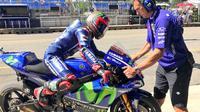 Maverick Vinales mengklaim keterpurukannya pada kualifikasi MotoGP Republik Ceska, di Sirkuit Brno, Sabtu (5/8/2017), murni kesalahan tim. (Twitter/Yamaha MotoGP)