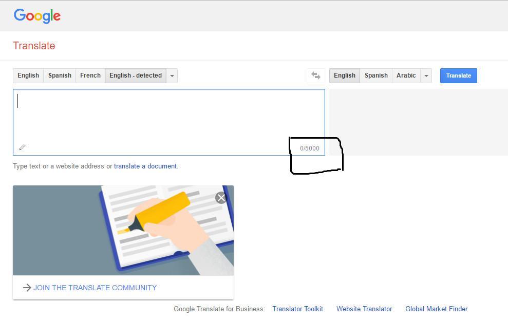 Google kini membatasi jumlah huruf yang bisa diterjemahkan di Google Translate hanya 5.000 karakter saja. (Sumber: Screenshot)