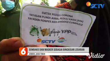 Ratusan warga di Jember mendapatkan bingkisan lebaran, berupa sembako dan masker yang dibagikan oleh tim YPP SCTV-Indosiar.