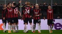 AC Milan memetik kemenangan tiga gol tanpa balas atas Sparta Praha pada laga kedua Grup H Liga Europa, di San Siro, Jumat (30/10/2020) dini hari WIB. (AFP/MARCO BERTORELLO)