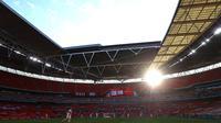 Stadion Wembley, akan menjadi venue penyisihan Grup D, semifinal, dan final Euro 2020 (Euro 2021). (AFP/Richard Heathcote)