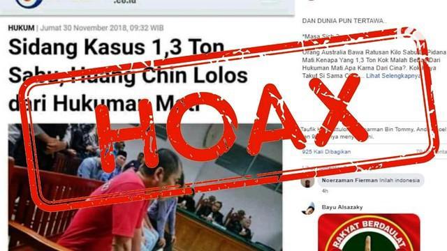 Beredar kabar di Facebook terdakwa kasus penyelundupan sabu 1 ton tidak divonis mati karena warga negara China.