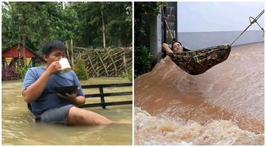 6 Potret Orang Tetap Santai Meski Banjir Ini Bikin Deg-degan Lihatnya