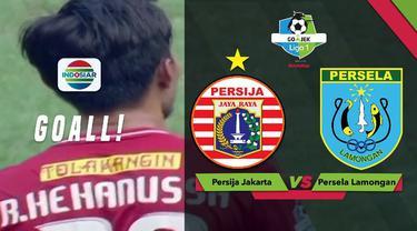 Rezaldi Hehanusa membuat kiper Persela Lamongan kaget karena tendangan geledek yang ia lepaskan saat Persija menang 3-0 dalam lanjutan Gojek Liga 1 2018 bersama Bukalapak, Selasa (20/11/2018)