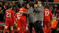 Liverpool menaklukkan FC Augsburg pada leg kedua babak 32 besar Liga Europa di Anfield, Liverpool, Jumat (26/2/2016) dini hari WIB. (Reuters/Andrew Yates)