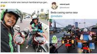 """Momen Lucu Saat Pengendara Bertemu """"Kembaran"""" Di Jalan Ini Bikin Ngakak (sumber:Instagram/Lambeonlen)"""