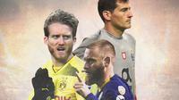 Ilustrasi Pemain - Iker Casillas, Andre Schurrle, Daniele De Rossi (Bola.com/Adreanus Titus)