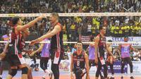 Surabaya Bhayangkara Samator menjadi juara kompetisi bola voli Proliga 2019. (Istimewa)