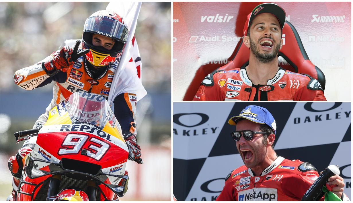 Pembalap Repsol Honda, Marc Marquez, kalah dalam duel dengan Maverick Vinales pada MotoGP Belanda. Meski kalah, Marquez justru tetap kukuh di puncak klasemen MotoGP 2019. (Foto Kolase AFP)