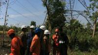 Manajemen PT PLN (Persero) Unit induk Transmisi Jawa Bagian Timur dan Bali (UIT JBTB) melaksanakan kegiatan grebek row pada jalur transmisi SUTET 500 KV di Desa Semendi, Tongas, Probolinggo. (Foto:Liputan6.com/Dian Kurniawan)