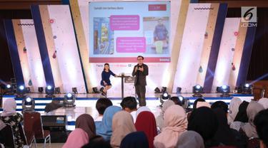 Co Founder&President at Bukalapak, M Fajrin Rasyid memberikan materi tentang entrepreneurship selama acara EGTC 2018 di Universitas Padjajdaran, Bandung, Rabu (5/12). M Fajrin Rasyid berbagi inspirasi membuka bisnis. (Liputan6.com/Helmi Fithriansyah)