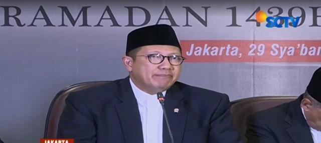 """""""Malam hari ini adalah tanggal 30 Syaban. Dengan demikian 1 Ramadan 2018 jatuh pada Kamis 17 Mei 2018,"""" terang Menag Lukman Hakim Saifuddin."""