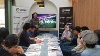 Rodrigo Gallego (perwakilan La Liga), dalam acara berbuka puasa bersama, Selasa (14/5/2019), di Jakarta.