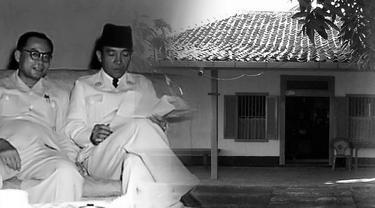 Ilustrasi Soekarno Hatta dan rumah di Rengasdengklok