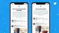 Twitter testing notifications for users whose accounts were suspended or locked for violating the rules (Twitter Documentation)