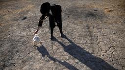 Seorang pria Yahudi Ultra-Ortodoks memegang seekor ayam dalam ritual Kaparot di Beit Shemesh, Israel, Minggu (6/10/2019). Sebagin percaya, ritual Kaparot akan membebaskan mereka dari dosa-dosa yang ditransfer ke ayang yang dipotong. (AP/Oded Balilty)