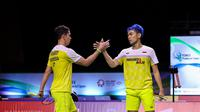 Ganda putra Indonesia Fajar Alfian/Muhammad Rian Ardianto beraksi di Thailand Open 2021. (BWF Limited Acces)