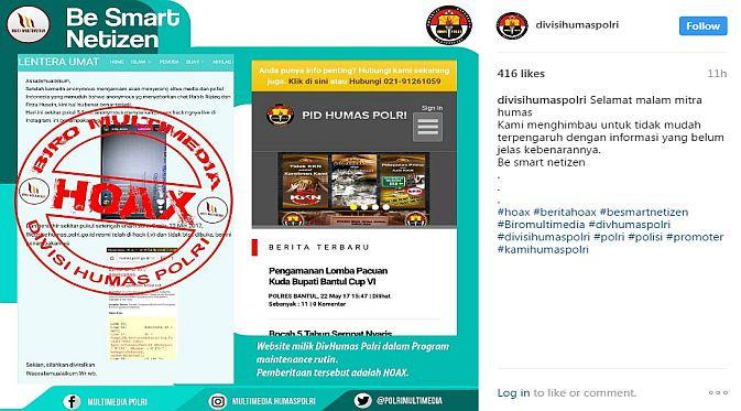 Posting-an akun Instagram Divisi Humas Polri terkait isu peretasan website (Foto: Ist)