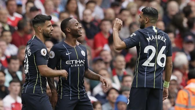 Para pemain Manchester City haus gol. (AP Photo/Tim Ireland)