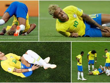 Berikut ini momen dan ekspresi saat dilanggarnya striker Brasil Neymar pada laga melawan Swiss di Piala Dunia 2018. (Foto-foto Kolase AP dan AFP).
