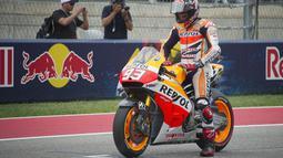Marc Marquez saat di posisi terdepan. Saat menjadi juara tahun 2013 dan 2014 juga meraih pole position.