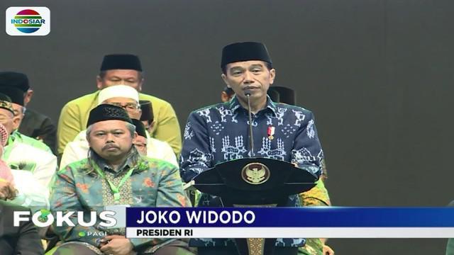 Dalam sambutannya Presiden Jokowi berpesan agar NU senantiasa menjaga keharmonisan dalam kehidupan beragama dan berbangsa.