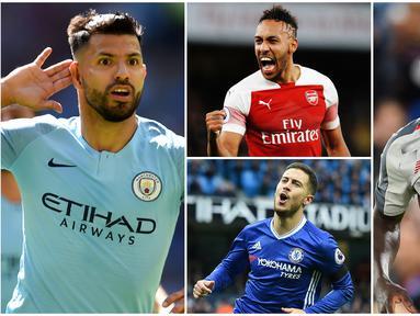 Berikut ini top scorer sementara Premier League 2019. Striker Manchester City, Sergio Aguero berada di puncak dengan koleksi 19 gol. (Foto-foto Kolase AP dan AFP)