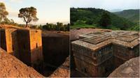 Bete Gyorgis yang paling terkenal di Lalibela, Ethiopa. (Sumber Alastair Rae and Rod Waddington)