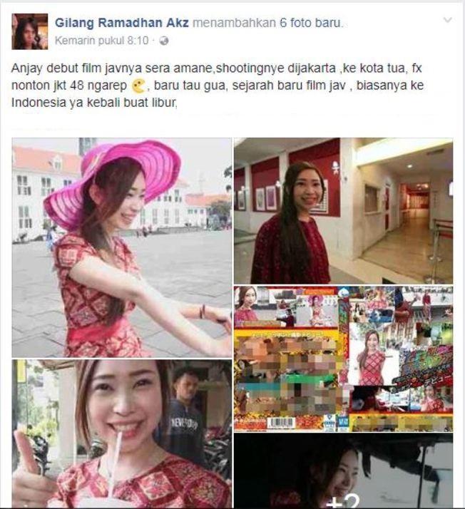 Pemilik akun Facebook Gilang Ramadhan Akz yang membagikan foto-foto Sera Amane. (Facebook)