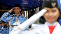 Dalam Upacara tersebut Menteri Pendidikan dan Kebudayaan (Mendikbud) Anies Baswedan menjadi inspektur Upacara . (Liputan6.com/Johan Tallo)