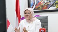 Menaker Ida pada acara Apel Mahasiswa K3 Seluruh Indonesia, Kuliah Umum, dan Webinar K3 Nasional di Jakarta, Senin (15/2/2021).