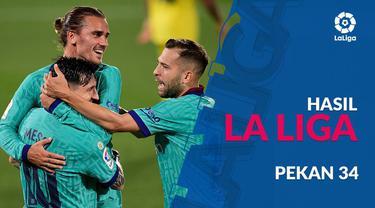 Berita motion grafis hasil La Liga pekan ke-34. Barcelona dan Real Madrid sama-sama raih kemenangan.