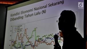 CEO SMRC Djayadi Hanan memaparkan grafik saat rilis hasil survei nasional Tren Elektabilitas Capres: Pengalaman Menjelang Hari H (2004-2019) di Kantor SMRC, Jakarta, Minggu (7/10). (Merdeka.com/Iqbal S Nugroho)
