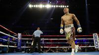 Teofimo Lopez saat bertanding melawan Richard Comme di Las Vegas, 2019 lalu (AL BELLO/AFP)